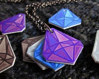 Mood Gem Neclace - Purple Blue White Black - Communication Necklace - Gunmetal Rolo Chain