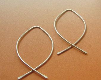Sterling Silver Open Hoops, Almond Earrings, Open Hoop Earrings, Fish Shape Earrings, Contemporary Earrings, Modern Hoops,  Pisces Earrings