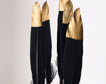 """Hand Painted Gold Tipped Black Goose Feathers 4-6"""" Long - Great for weddings, crafts, jewellery, DIY decorations + dream catchers!"""