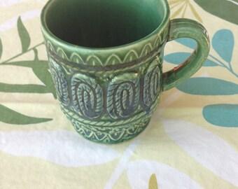 Vintage Mid Century/MCM Green Japanese Coffee Mug