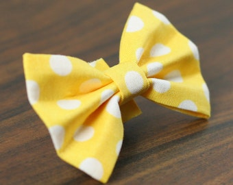 Ready To Ship Dog Bow Tie - Yellow Polka Dots
