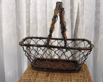 Vintage 90's decorative wire and wicker basket