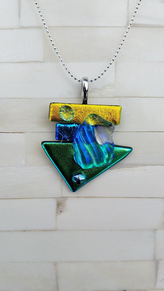 Abstract Fused Dichroic Glass Pendant OOAK