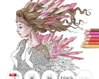 Adult Coloring Page Fantasy Crystal Line Art