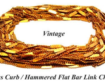 10 FT. Vintage Brass Curb / Hammered Bar Link Chain-g1491