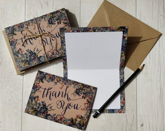 Blue floral thank you, floral thank you card, rustic thank you card set, watercolour floral thank you cards, rustic thank you, rustic thanks