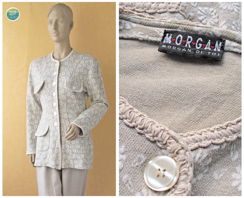 5343fd7831 80s Floral Blazer Morgan De Toi Jacket Beige Sweater Jacket