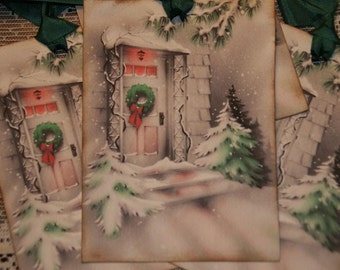 Christmas Tags, Winter Front Door Welcome, Vintage Christmas Gift Tags