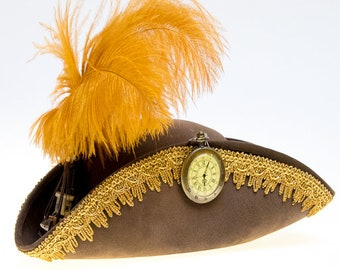 """Steampunk Pirate Hat / Tricorn """"Footsteps in time"""""""