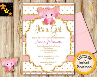 "Pink and Gold Baby Shower Invitation, Girl, Elephant, INSTANT download, EDITABLE in Adobe Reader, DIY, Printable, 5""x7"""