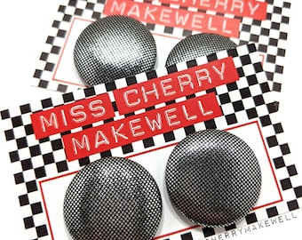 Metallic Silver Mini Polka Dot Fabric Button Rockabilly 50's Pin Up Retro Vintage Inspired Stud or Clip On Earrings By Miss Cherry Makewell