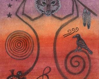 Wolf Spirit Gateway Pineal Chakra Petroglyph Portrait by shamanic artist healer  Azurae Windwalker