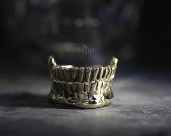 Half Teeth and Fang Ring by Defy / Handmade Jewelry / Adjustable Brass