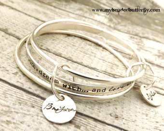 products initial by sterling bangle sisters jewelry personalized silver custom sister bangles friendship bracelet stamp choice birthstone charms heart in