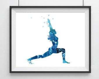 Yoga poster poses - Blue  - Yoga poster - Asana