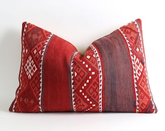 Red kilim pillow cover, 80 years old vintage bohemian kilim pillow 16x24 inch