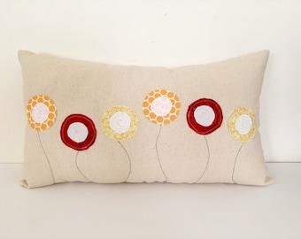 Spring pillow, flower pillow, Poppy pillow