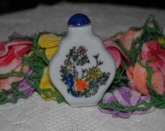 20 % OFF- Vintage White Milk Glass Floral Design Mini Perfume Bottle