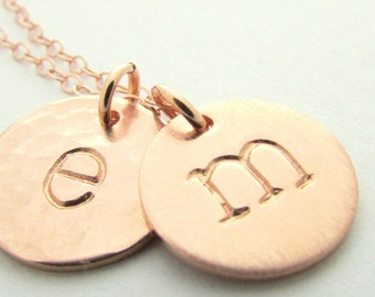 Gift for Mom | Rose Gold Letter Necklace | Rose Gold Initial Charm Necklace | Personalized Custom Charms
