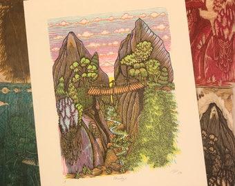 BRIDGE Woodcut Print