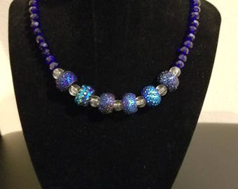 Royal Blue Crystal Beaded Necklace with Designer Focal Beads