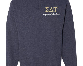 Sigma Delta Tau, SDT, Sigma Delta Tau Quarter Zip, SDT fleece, Greek sweatshirt, sdt quarter zip, SDT sweatshirt, sorority sweatshirt