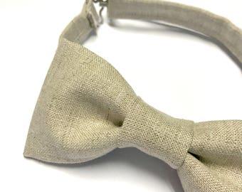 Linen Bow tie, Linen Bowtie, Beige Bow tie, Khaki Bow tie, Neutral Linen Bow tie, Natural Linen Bow tie, Kid's Linen Bow tie, Summer Bowtie