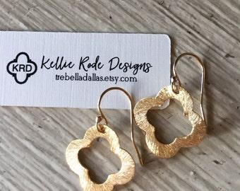 Gold Filled Quatrefoil Clover Earring
