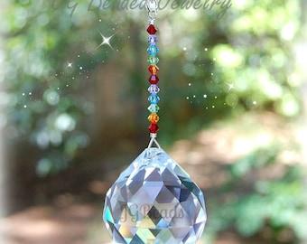 Large Rainbow Prism Crystal Suncatcher, Hanging Crystal Window Decoration, Swarovski Rainbow Crystal Light Catcher, Home Decor 40mm Prism