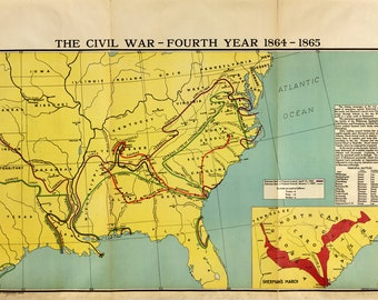 Map of Civil War, Year 4; Antique Civil War Map, 1919