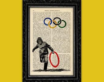 Banksy Olympics Art Print Banksy Street Art Stencils Book Art Poster Dorm Room Print Gift Print Wall Decor Poster Dictionary Art Print (Nº9)