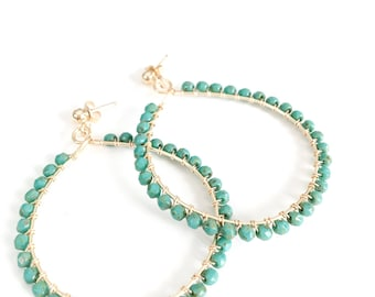 Gold hoop earrings with wire-wrapped turquoise Czech glass beads // statement earrings // large hoop earrings // turquoise jewelry