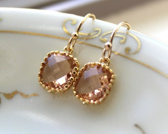 Dainty Champagne Blush Earrings Gold Plated - Peach Bridesmaid Earrings - Wedding Earrings - Champagne Wedding Jewelry, Miniatures Market
