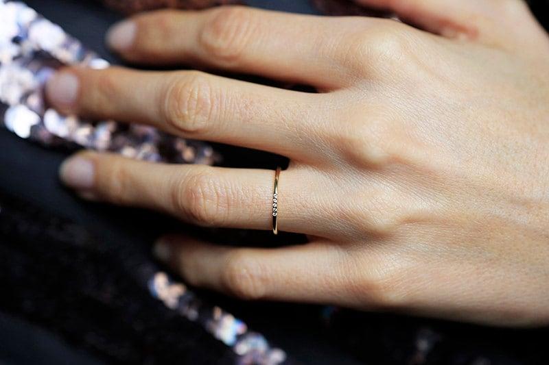 Thin Gold Diamond Ring Pave Diamond Band Thin Diamond Band