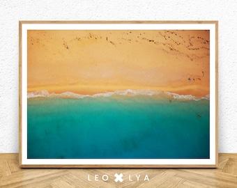 Ocean Art, Ocean Beach Print, Ocean Beach Water Wall Art, Printable Modern Beach Print, Sand, Waves, Abstract Colour Photography, Coastal