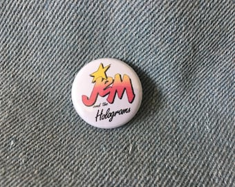 Jem and the Holograms, Jem button, Jem logo, Jem cartoon,  1 inch pin back button, cartoon button