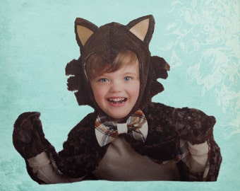Wolf Cape Costume Child  Size 3-8
