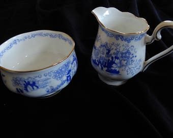 Vintage Royal Albert MIKADO Cream and Open Sugar Circa 1940s