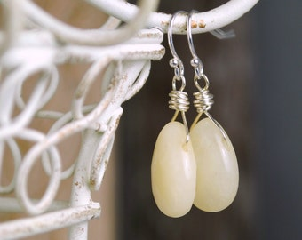 Yellow Jade Earrings, Dangle Earrings, Gemstone Earrings, Sterling Silver, Briolette Earrings, Drop Earrings, Yellow Jewelry, Gifts Under 25