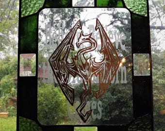 Small Stained Glass Skyrim Panel