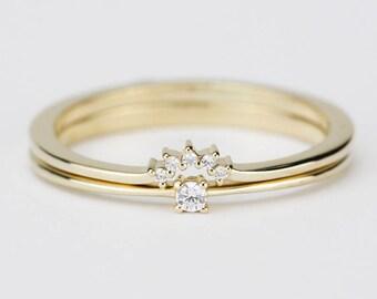 Diamond Engagement Ring, wedding band curved, Solitaire Diamond Ring, Wedding Ring Set, Diamond Ring, White Diamond Wedding Ring