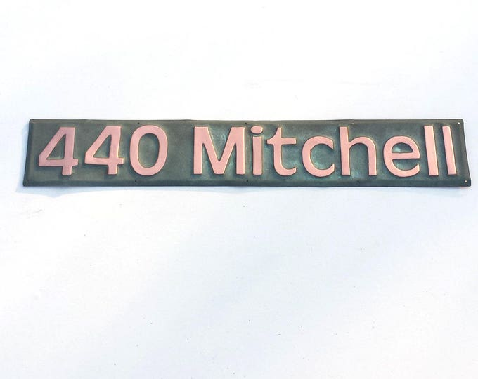 "Copper House Address Plaque, 3"" number or letters, polished, laquered and patinated in Antigoni font g"