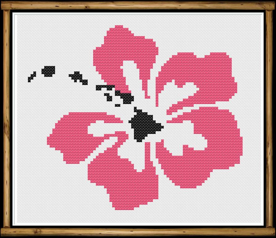 Hawaiian Hibiscus Cross Stitch Pattern