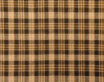 Plaid Material | Primitive Material | Cotton Material | Homespun Material Brown Small Plaid | Rag Quilt Material | Sewing Material