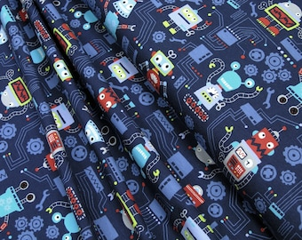 Jersey Little Darling colorful robots on dark blue 0.54yd (0,5m) 003331