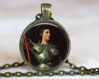 Saint Joan of Arc Pendant with an 18 or 24 inch chain - Catholic Jewelry Gift