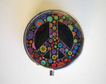 Pill box, Pill case, Peace pill box, Pill container, Jewelry box, Mint case, Pills, Peace