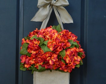 Summer thru Fall Wreath - Hydrangea Wreath - Wreath Alternative -  Door Decor - Choose Color