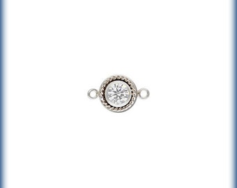 Sterling Silver 4mm Fancy Bezel Connector April CZ - 1pc High Quality 5% discounted (6497)/1
