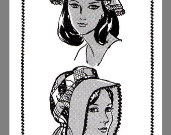 Vintage Mail Order Women's Hat Cap Bonnet Fabric Material sewing pattern #832 Copy / Reprint /  Pdf Delivery